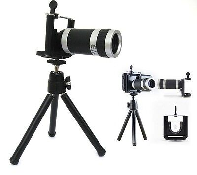 Universal 8X Magnify Zoom Camera Telescope Lens + Tripod Stand for iPhone 5 & 5S