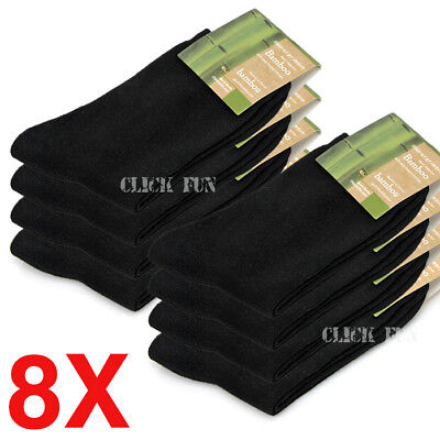 8 Pairs Black Mens Socks Bamboo Fibre Odor Resistant Sweat Natural Comfortable