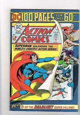 Action Comics # 443  100 page giant  issue grade 7.5 super scarce hot book !!