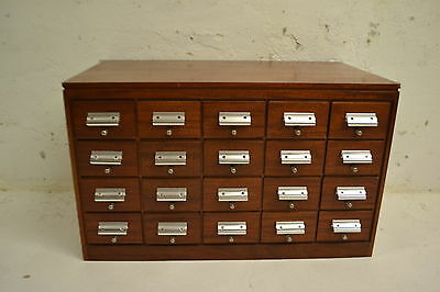 STUNNING VINTAGE MAHOGANY CHEST OF 20 FILE DRAWERS
