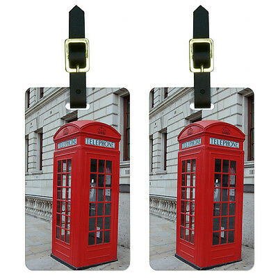 Telephone Booth Red Call Box England Great Britain Luggage ID Tags Set of 2