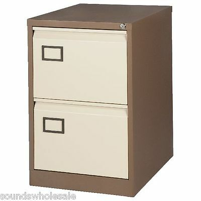 2 Drawer Coffee / Cream Rs Pro Bisley Steel Filing Cabinet / Foolscap + Free 24H
