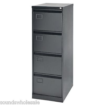 4 Drawer Rs Pro Bisley Steel Filing Cabinet Black Foolscap A4 -  New + Free Del
