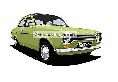 Ford Escort Mk1 Car Art Print Picture (Size A3). Personalise It!