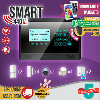 Kit Antifurto Casa Allarme Touch Screen Combinatore Gsm / App Wireless Smart440M