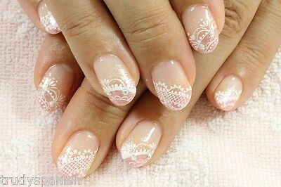 Nail Art Lace Stickers Decals Transfers WHITE Lace Design Nail Art  2 SHEETS NEW