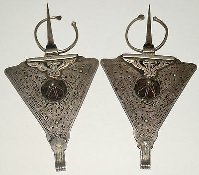 Large Antique SILVER Moroccan Berber Ethnic Tribal Fibula Brooches Faux Wormhole