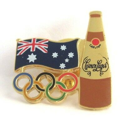 Crown Larger Beer Bottle Rings Sydney Olympic Games 2000 Pin Badge Collect #240