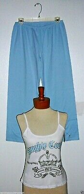 ENTICING LINGERIE SLEEPWEAR~2 Piece~Blue-White-Silver~Miss Size Medium~NWT