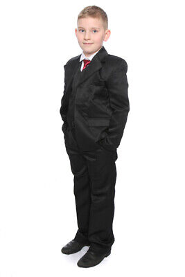 Boys Black Suit  5 Pce Prom Cruise Wedding Party Christening Age 1-15 Years New