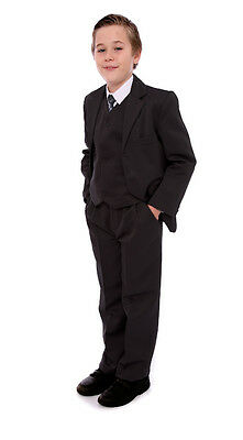 Boys Black Suit Cheap 5 Piece Wedding Usher Christening Party Age 1-15 Years New