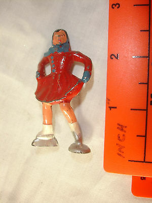 Old Vtg Antique Lead Winter Ice Skater Woman With Skates Red Outfit Figure
