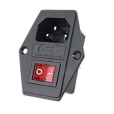 1x Red LED Rocker Switch Fuse Holder IEC320 C14 Inlet Power Socket AC250V 10A