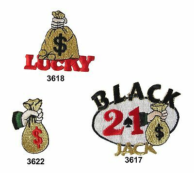Casino Luck,Money Bag,Black Jack Embroidery Iron On Applique Patch