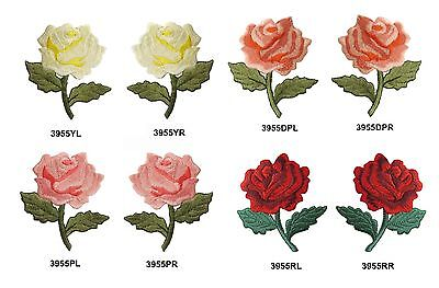 Red,Yellow,Pink Rose Flower Embroidery Iron On Applique Patch