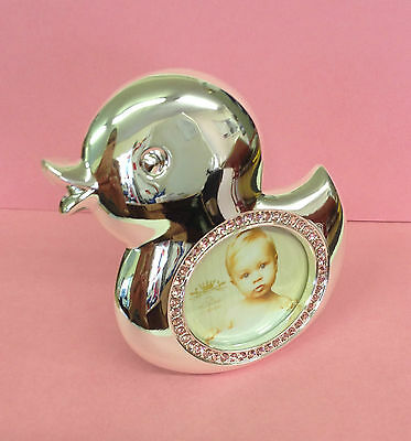 Silver Plated & Pink Diamante Duck Baby Photo Frame ~ Christening Gift LP17233