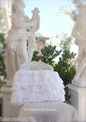Shabby Vintage White Chic French Ruffle 6 Tiers Petticoat King Valance Bedskirt