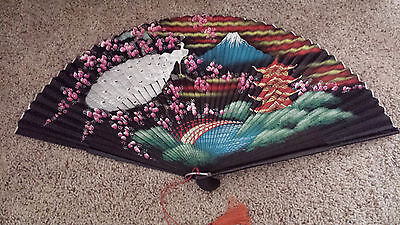 Vintage hand painted Fan STUNNING colors wood supports -MINT Original Box