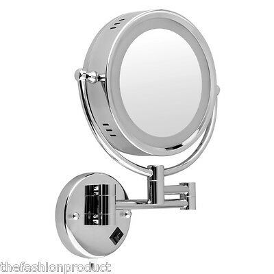 Double-Side Wall Mounted Extend Chrome Mirror Bathroom Shave Makeup LED Lighted