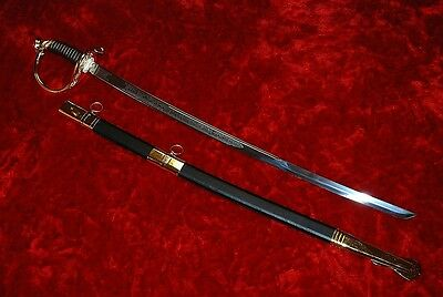 New Civil War CSA Confederate Cavalry Officers Saber Sword & Scabbard (Gold)
