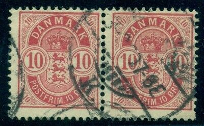 "DENMARK #45v 10ore Coat of Arms ''OPEN O IN LARGE 10"" var on rt stamp of used pr"