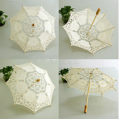 Hot Elegant Handmade Cotton Lace Parasol Umbrella Wedding Party Decoration ex1l