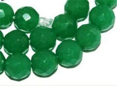 8mm Green Emerald Faceted Round Loose Beads 15""