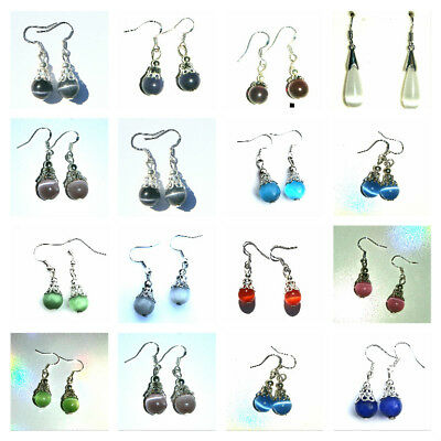 Mixed Colour And Styles Cat's Eye Bead Earrings On Sterling Silver Stamped Hooks