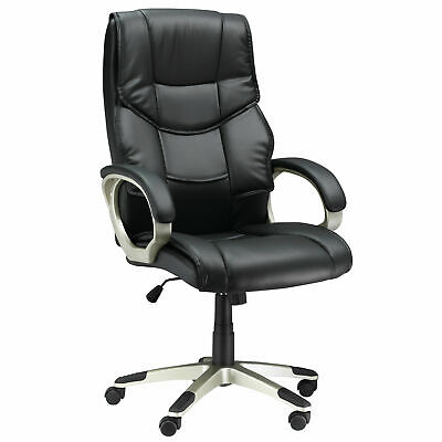 HOMCOM Home Gaming Office Chair PU Leather Swivel High Back Black Heavy Duty