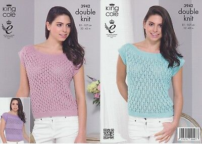 Ladies Double Knit Smooth DK Knitting Pattern King Cole Womens Summer Top 3942