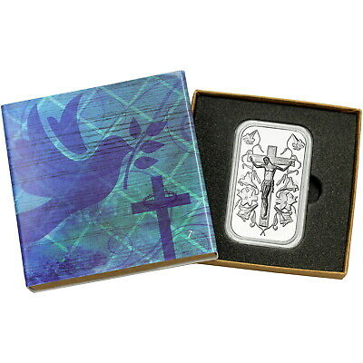 Jesus/Cross 1 oz .999 Fine Silver Bar by SilverTowne (Religious Box)