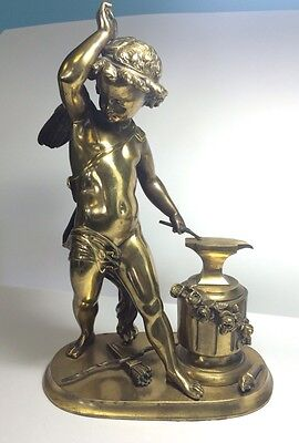 Antique 1860's French 2nd Empire / Napoleon III Bronze Cupid Forging An Arrow
