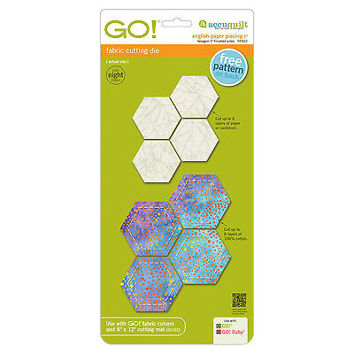 """AccuQuilt GO! & Baby Cutting Die English Paper Piecing Hexagon-1"""" Finished Sides"""