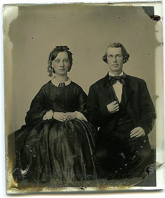 1/6 Plate Cased Ambrotype Handsome Charles White & Beautiful Pregnant Wife