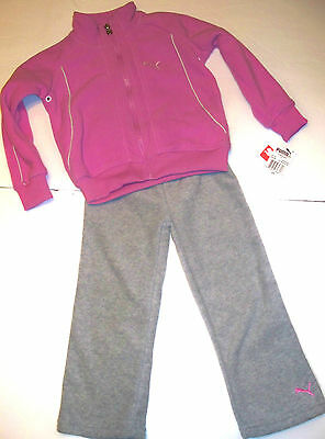 New Puma Tracksuit Size 4 Years Girls Pink Grey Fleece Hoodie Tracks Auth