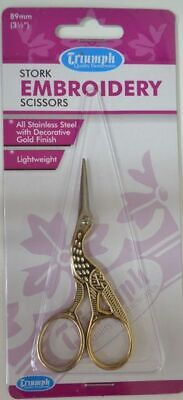 Triumph Stork Embroidery Scissors, Lightweight, Gold Finish 89mm Stainless Steel