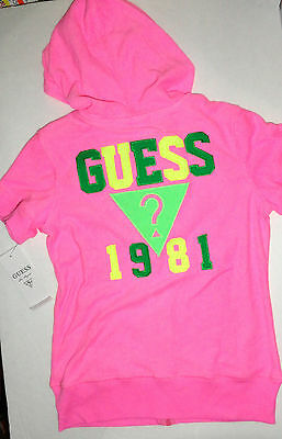New Guess Hoodie Jacket Girls Size 11-12 Years Hot Pink Terry Towelstylish Auth