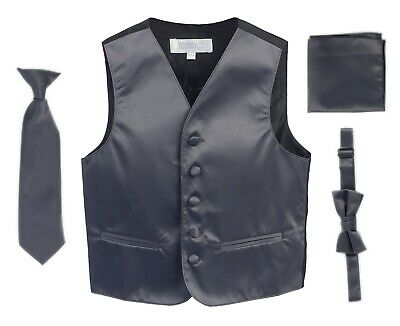 Formal Vest Set 4 Pieces Vest+Tie+Bow Tie +Pocket Square Set Toddler,Kids,Boys