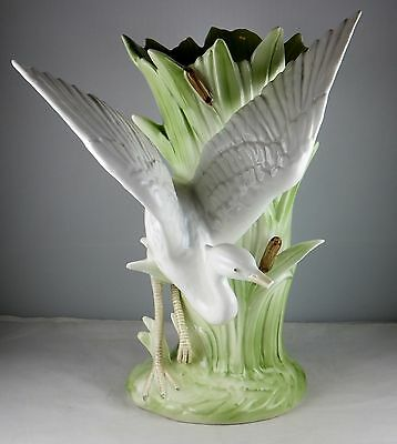 Fitz and Floyd Crane Egret or Heron With Cattails Tall Vase - Excellent