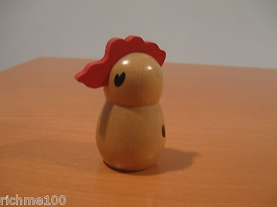 """Vintage Wood Wooden Chick Chicken Rooster Shape Toothpick Tooth Pick Holder 3"""""""