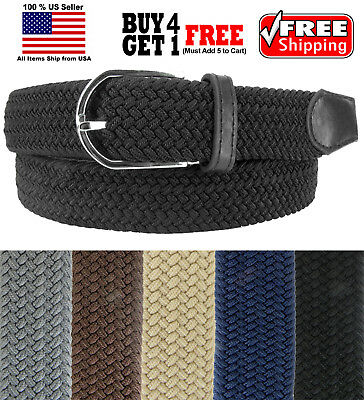 MULTI COLORS BASKET WEAVE WOVEN STRETCH ELASTIC BELT with BELT BUCKLE