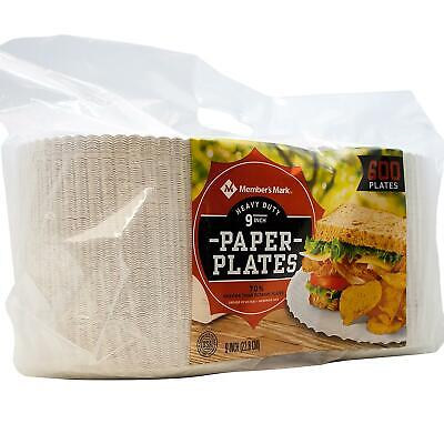 """Daily Chef Heavy Duty Paper Plates 600 ct 9"""" - 6.315"""" H x 18.106"""" W x 6.412"""" D"""