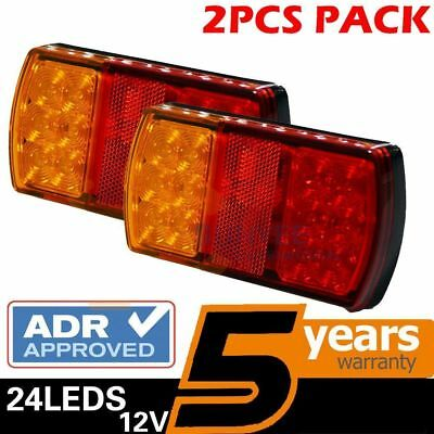 2 X Led Trailer Lights Tail Lamp 12V Rectangle Stop Indicator S 4Wd Waterproof