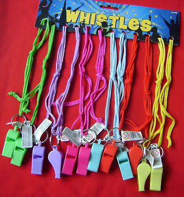 New Set 12 Assorted Colour Neon Plastic Whistles On A String Fun Musical Toy! Hb