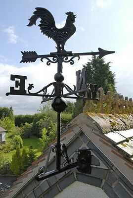Cast Iron Rooster Cockerel Weathervane Wind Vane With Multi-Positional Bracket