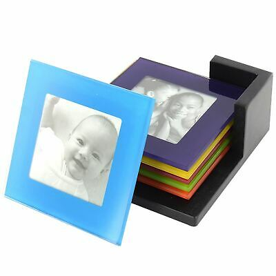 Set Of 6 Coloured Glass Photo Coasters Picture Frame Placemats Drinks Cup Mat