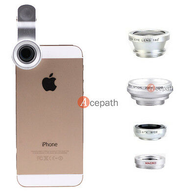 4in1 Fisheye + Wide Angle + Macro + Telephoto Clip-on Lens for iPhone 6 5S 5 4S