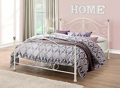 Milano 120cm 4FT Cream Metal Small Double Bed Frame Bedstead with Brass Finials