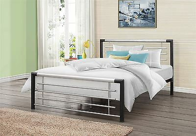 Faro 120cm 4FT Small Double Black & Silver Metal Bed Frame Bedstead Modern