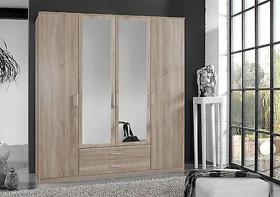German 4 Door 180cm Oskar Oak Mirror Bedroom Wardrobe with Drawers